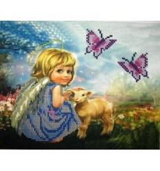 Ангелочек с ягненком  ЧВ-3153